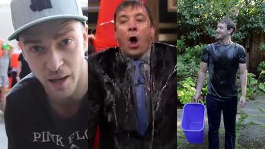 Justin Timberlake, Jimmy Fellon và Mark Zuckerberg (từ trái sang) chấp nhận Ice Bucket Challenge.