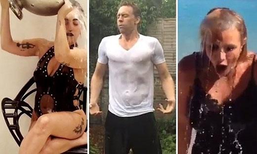 Lady Gaga, Tom Hiddleston và Britney Spears (từ trái sang) chấp nhận Ice Bucket Challenge.