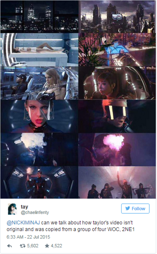 Một fan của Nicki đã thẳng thừng tố Taylor đạo ý tưởng.