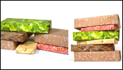 Giấy gói quà kết hợp màu, tạo thành hamburger thịt bò.