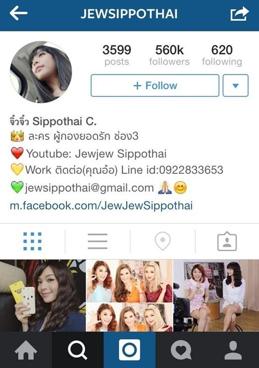 JewJew Sippothai cũng có tới 560.000 người theo dõi.