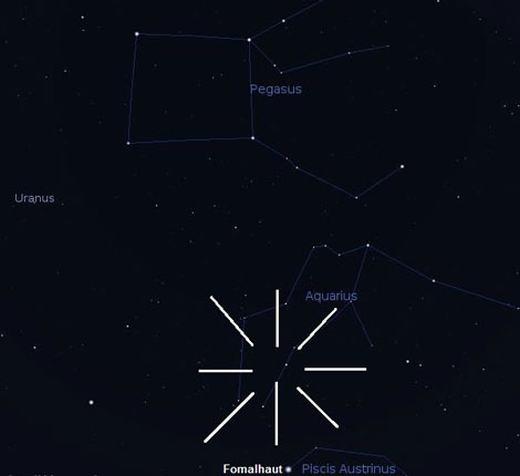 Vị trí chòm sao Aquarius – trung tâm của mưa sao băng Delta Aquarids.