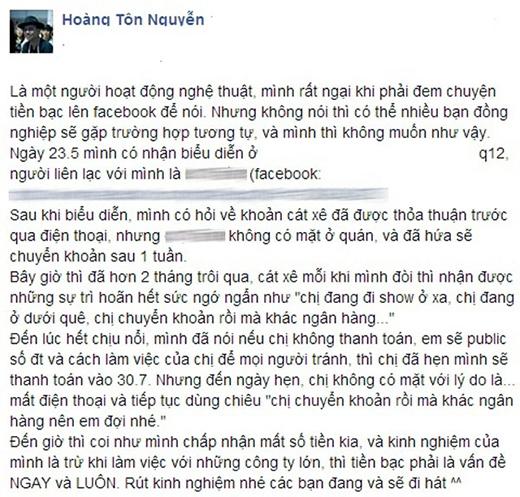Sao Việt phản ứng đa chiều với khủng hoảng bị quỵt cát xê - Tin sao Viet - Tin tuc sao Viet - Scandal sao Viet - Tin tuc cua Sao - Tin cua Sao