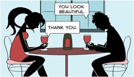 """Thay vì nói chuyện trực tiếp, họ nhắn tin cho nhau: """"Em đẹp lắm"""" – """"Cảm ơn""""."""