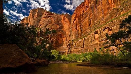 Hẻm núi Zion nổi tiếng với những tảng sa thạch lớn màu nâu đỏ Navajo rực rỡ dưới ánh mặt trời.