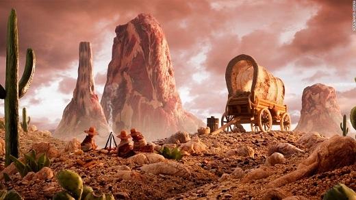 Xương rồng từ dưa chuột, núi từ thịt, những hòn sỏi từ các loại đậu... đố bạn biết đất đá là nguyên liệu gì đấy!