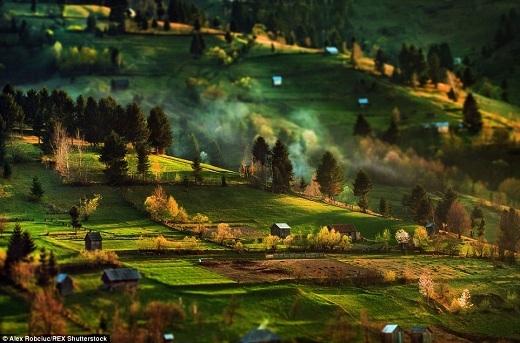 Những dãy nhà theo phong cách truyền thống của vùng Transylvania điểm xuyết giữa trang trại rộng lớn trên đồi.