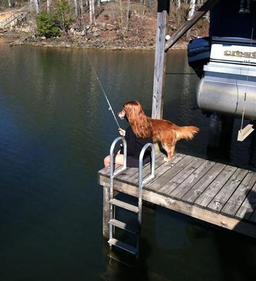 Duyên dáng câu cá bên bờ sông.