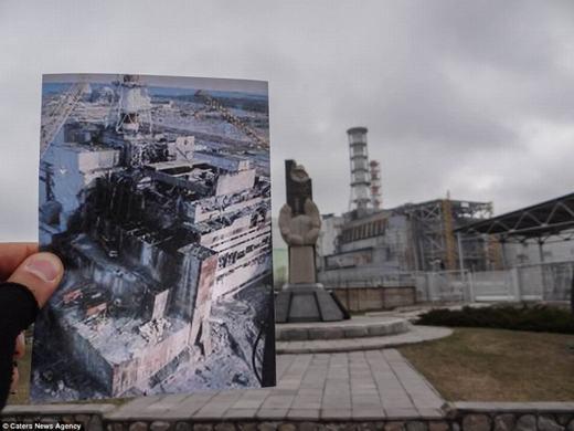 Hình ảnh nhà máy điện hạt nhân Chemobyl khi mới bị phá hủy và hiện tại.