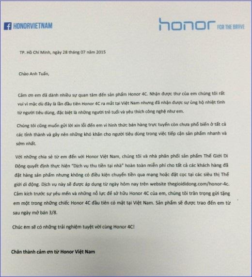 Bức thư phúc đáp từ Honor Việt Nam gửi đến Tuấn.