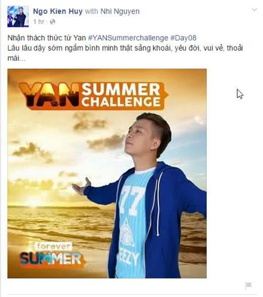 Ngô Kiến Huy cảm thấy yêu đời hơn khi chấp nhận thử thách từ YAN Summer Challenge. Anh chàng đã nhanh chóng chụp lại khoảnh khắc sống trọn tuổi trẻ của mình để chia sẻ với người hâm mộ.