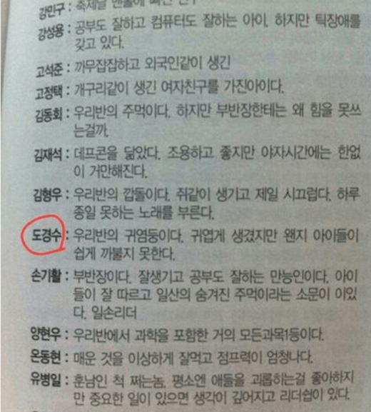 """Bạn cùng lớp nhận xét về D.O.: """"Kyung Soo trong lớp rất đáng yêu nhưng không ai dám giỡn mặt với cậu ấy"""". Có vẻ như tính cách dễ nổi nóng của D.O. đã bộc lộ từ bé."""
