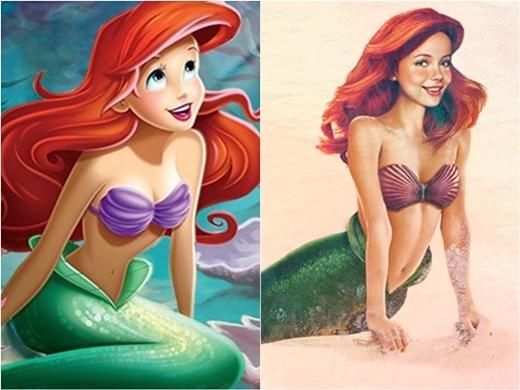 Nàng tiên cá Ariel mang đúng vẻ hồn nhiên và lanh lợi.