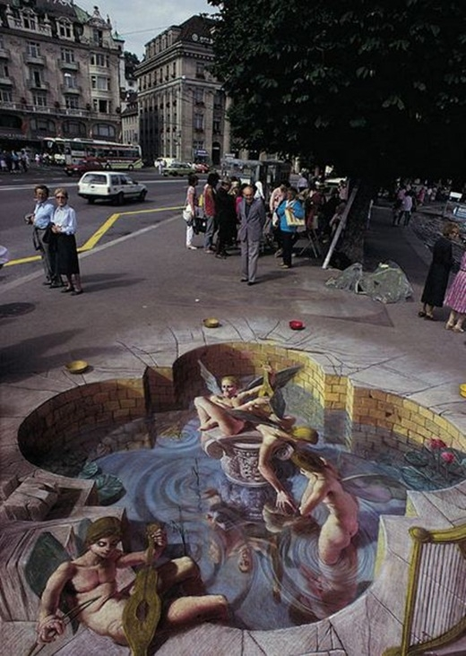 Một bức tranh 3D đường phố thường tốn rất nhiều thời gian và công sức để hoàn thành.