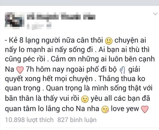 Một cô gái cập nhật trạng thái cám ơn những người bạn đã cổ vũ cho cô.