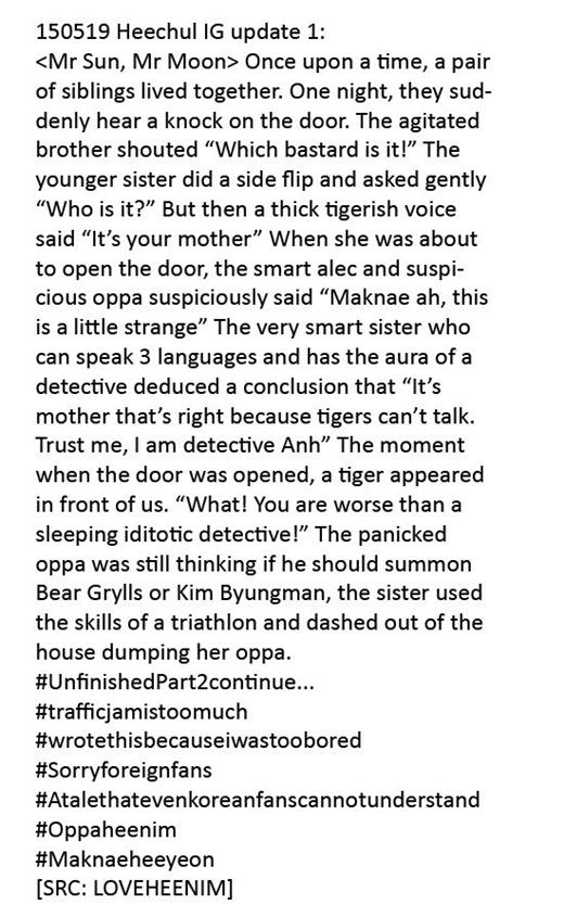 """Heechul (Super Junior) lại cực thích làm thơ và sáng tác truyện viễn tưởng mỗi khi có thời gian rảnh. Anh chàng cũng từng chia sẻ một trong số những """"đứa con tinh thần"""" của mình thông qua tài khoản Instagram và nhận được không ít lời khen ngợi từ phía các fan."""