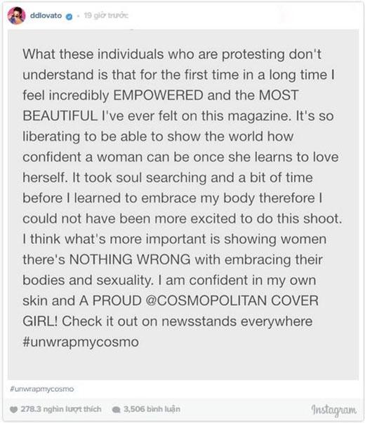 Bài chia sẻ của Demi khi biết tờ tạp chí đang phải chịu sự phản đối.