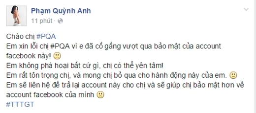 Lời nhắn mà hacker để lại trên trang cá nhân của Phạm Quỳnh Anh. - Tin sao Viet - Tin tuc sao Viet - Scandal sao Viet - Tin tuc cua Sao - Tin cua Sao