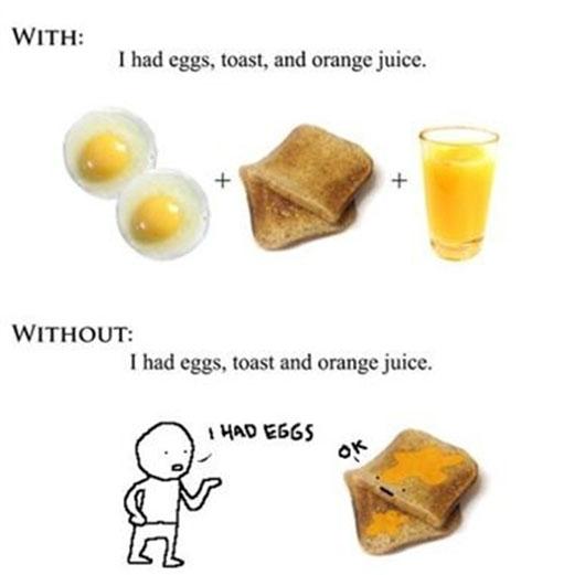 Câu trên có nghĩa: Tôi ăn trứng, ăn bánh mì và uống nước cam còn câu dưới có nghĩa Tôi ăn một cái bánh mì kẹp trứng được nhúng nước cam. Dấu phẩy đã cho thấy chức năng quan trọng trong việc diễn đạt chính xác.