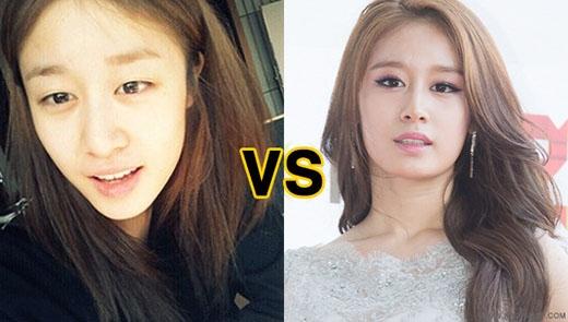 Em út Jiyeon của T-ara luôn nằm trong danh sách những mĩ nhân có mặt mộc xinh nhất Kpop. Tuy nhiên, có một vài hình ảnh khi không trang điểm của cô khiến nhiều người không nhận ra.