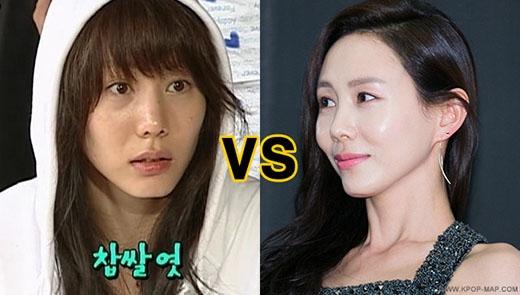 Hình ảnh thể hiện sự khác biệt rõ rệt khi không trang điểm của nữ diễn viên Park Ye Jin.