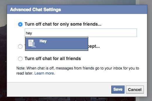 Không muốn bị làm phiền? Bạn có thể tắt chat với tất cả bạn bè ở tùy chọn góc phải. Nhưng nếu chỉ muốn tắt một số bạn bè thôi thì sao? Hãy vào Advanced Settings >Turn off chat for only some friends rồi nhập vào những người bạn không thích trò chuyện.