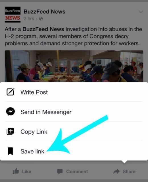 Hiện nay, Facebook đã cho phép người dùng lưu lại các thông tin để đọc sau bằng nút Save, kể cả phiên bản trên di động. Bạn chỉ cần hướng lên góc phải và bật menu của riêng tin tức đó lên là có thể thấy.