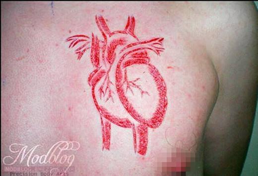 Quả tim máu phiên bản hình xăm.
