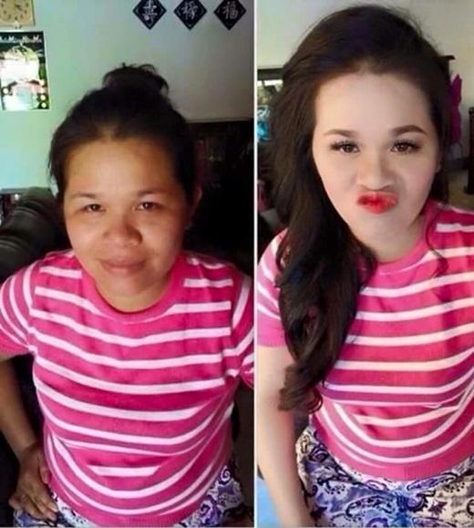 Cô gái này trở nên xinh đẹp và trẻ trung hơn rất nhiều sau khi trang điểm.