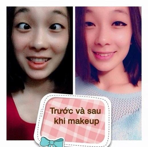 Sự thay đổi trước và sau khi trang điểm của một cô gái.