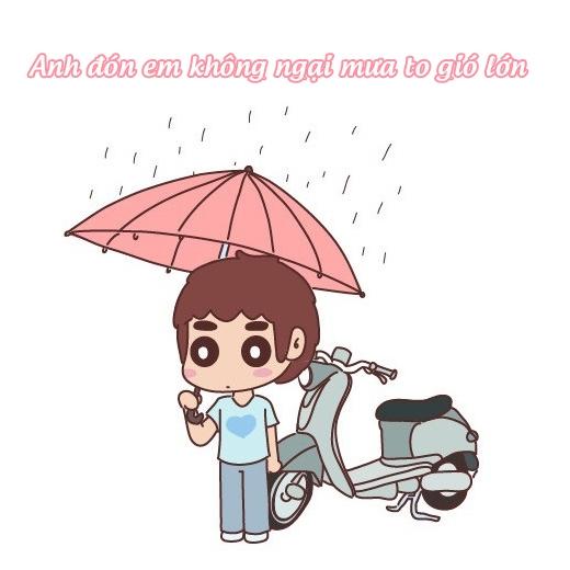Bất chấp thời tiết, anh luôn là xe ôm đưa đón em đi học.