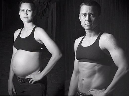 AJ trước và sau khi sinh con.