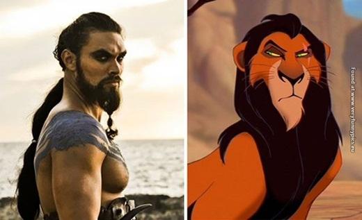 Tuy rằng,Khal Drogo trong phimGame of Throneslà con người, nhưng bạn không thể phủ nhận sự giống nhau đến kì lạ giữa anh và nhân vật phản diện trong phim vua sư tử, Scar.