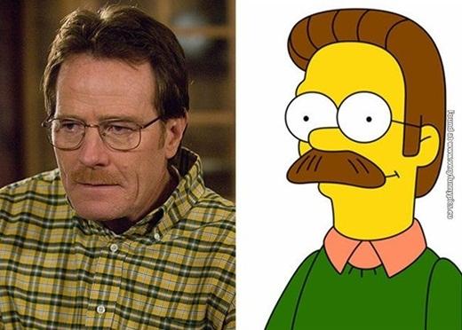 Diễn viên Walter White có vài nét giống với nhân vật Ned Flanders trong series phim hoạt hình nổi tiếng – Gia đình Simpsons.