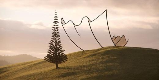 Một nghệ sĩ nghệ thuật ứng dụng ở New Zealand đã tạo ra kiến trúc hoạt hình bằng thép có đường nét như một tờ giấy rơi xuống từ trên trời.