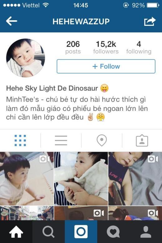 Trang Instagram của Hehe thu hút hơn 15.000 người theo dõi.