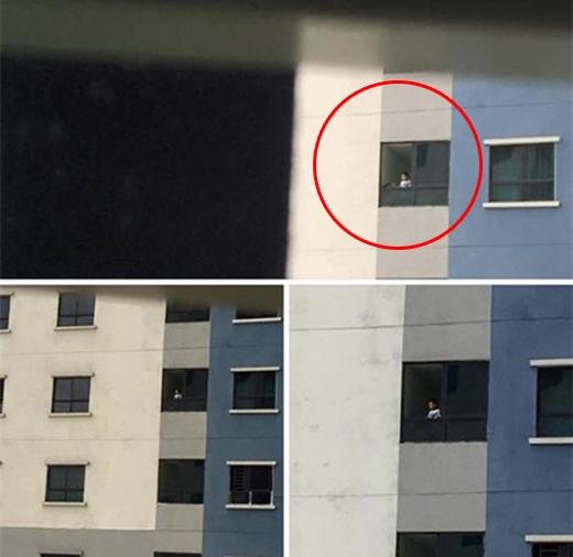 Hình ảnh trẻ em đứng ở cửa sổ tầng 12 của khu đô thị KIm Văn Kim Lũ khi không có lưới che. Ảnh Facebook nhân vật