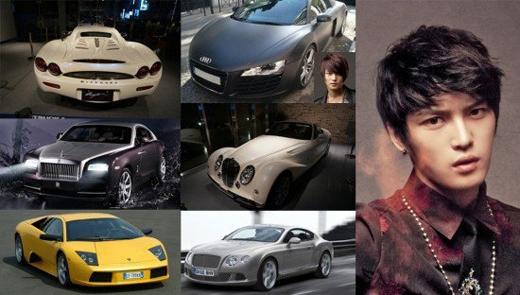 Jaejoong (JYJ) không hề thua kém người anh em của mình với 5 chiếc: Audi R8 giá 5 tỉ đồng, Mitsuoko giá 2,7 tỉ đồng, Bentley Continental trị giá 6,4 tỉ, Royce Wraith được định giá 9,5 tỉ đồng và Lamborghini Murcielago LP-640 có giá gần 11 tỉ đồng.