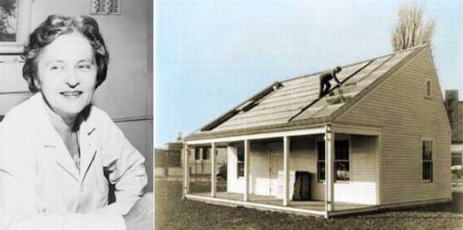 Ngôi nhà sử dụng hệ thống sưởi bằng năng lượng Mặt trời đầu tiên được thực hiện bởi Tiến sĩ vật lí học Maria Telkes và kiến trúc sư Eleanor Raymond vào năm 1947. Bà Maria Telkes cũng là người đi tiên phong về nghiên cứu năng lượng Mặt trời của thế giới.