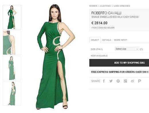 Tham dự buổi ra mắt 14 thí sinh của America's Next Top Model mùa 22, Hồ Ngọc Hà ghi điểm tuyệt đối với bộ váy xanh có giá gần 70 triệu đồng của Roberto Cavalli.