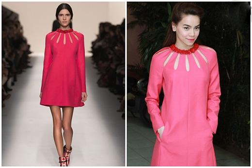 Hay bộ váy hồng tinh tế của Valentinocó giá gần 90 triệu đồng cũng được bà mẹ một con ưa chuộng.