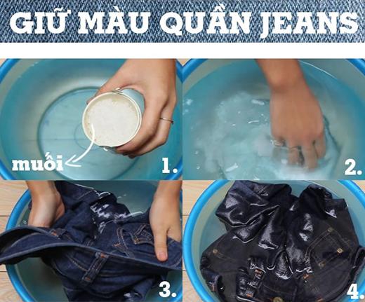 Muối - một biện pháp giữ màu hiệu quả cho quần jeans.