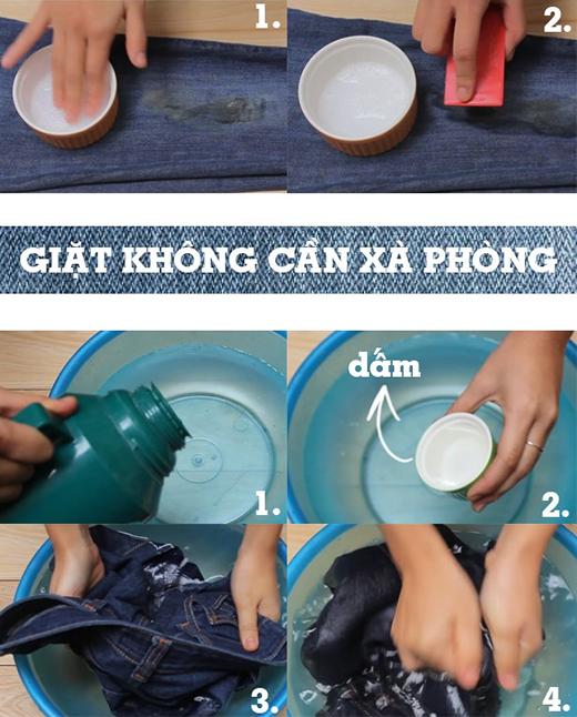 Giấm - lựa chọn thay thế hoàn hảo cho xà phòng trong việc tẩy vết bẩn trên quần jeans.