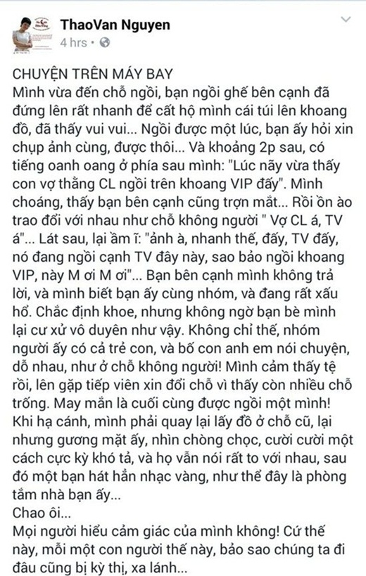 MC Thảo Vân bức xúc vì bị xúc phạm nặng nề trên máy bay - Tin sao Viet - Tin tuc sao Viet - Scandal sao Viet - Tin tuc cua Sao - Tin cua Sao