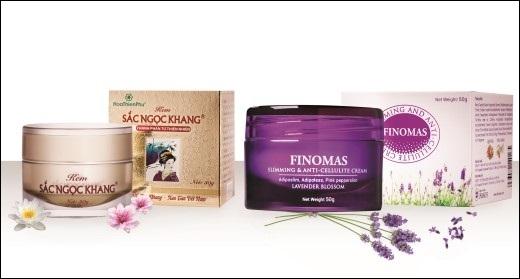 Kem Sắc Ngọc Khang và kem FINOMAS chính hiệu của Công ty Cổ phần Dược phẩm Hoa Thiên Phú.