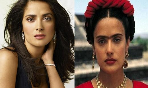 Việc cố gắng để khiến một ngôi sao gợi cảm như Salma Hayek trở nên xấu xí là một nhiệm vụ khá khó nhằn của đội ngũ nghệ sĩ trang điểm. Thế nhưng, trong bộ phim Frida năm 2002, nữ diễn viên đã tình nguyện làm xấu mình với vai diễn họa sĩ tài năng Frida Kahlo de Rivera, Salma thậm chí phải vẽ cả ria mép cũng như nối liền lông mày của mình.