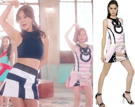 """Kết hợp croptop không tay tối màu có giá 850 đô la (tương đương 18,7 triệu đồng) cùng với váy ngắn trị giá 299 đô la (tương đương 6,6 triệu đồng) của Yuri được xem là lựa chọn sáng suốt giúp cô nàng trông cổ điển nhưng không kém phần """"sang chảnh"""". Bên cạnh đó là chiếc đầm đắt tiền trông khá giống với Seohyun của Sunny được niêm yết giá 1.405 đô la (tương đương 31 triệu đồng)."""