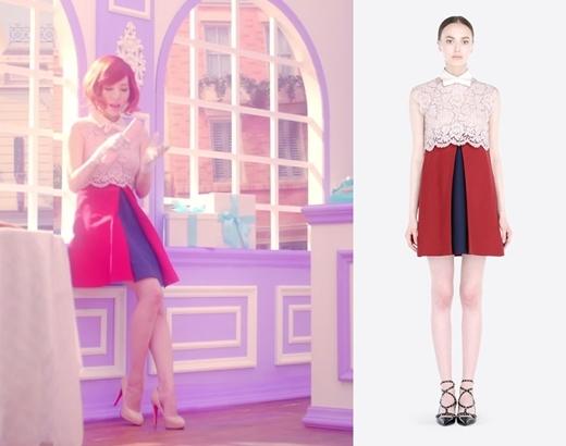 """Áo croptop hồng pasel cùng chiếc váy đỏ cạp cao trị giá 4.290 đô la (tương đương 95 triệu đồng) giúp Sunny trông thon thả và """"dài người"""" hơn hẳn."""