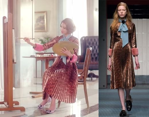 """""""Họa sĩ"""" Sooyoung sắm ngay cho mình chiếc đầm Gucci sang trọng đầy nổi bật với giá 5.800 đô la (tương đương 128 triệu đồng)."""
