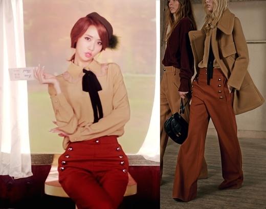 """Cô nàng thanh lịch Yoona thì diện ngay áo tay dài trị giá 953 đô la (tương đương 21 triệu đồng) cùng chiếc quần nâu tiệp màu """"ngốn mất"""" 1.167 đô la (tương đương 37 triệu đồng) cho lần gặp mặt đầu tiên với """"người trong mộng""""."""